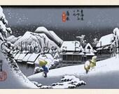Night Snow at Kambara (蒲原 夜之雪), Station 16, From the series Fifty Three Stations of the Tokaido (東海道五拾三次之内). Ukiyo-e woodblock print.