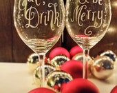 "Personalised pair of wine glasses - pair of glasses hand engraved with ""Eat drink..."" ""...& be merry"" - Christmas gift (WG02)"
