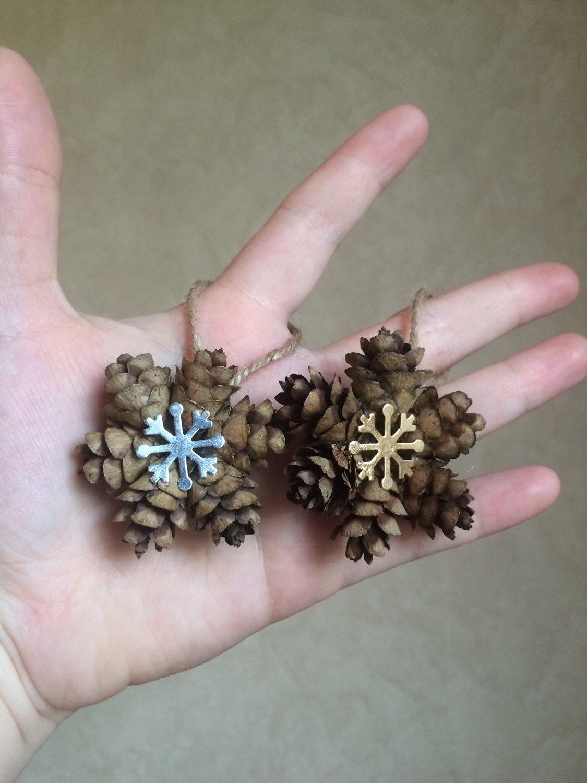 mini snowflake pine cone ornament gold or silver snowflake. Black Bedroom Furniture Sets. Home Design Ideas