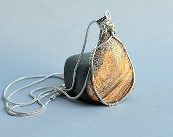 Picture Jasper pear shape pendant silver wire wrapped with silver plated necklace