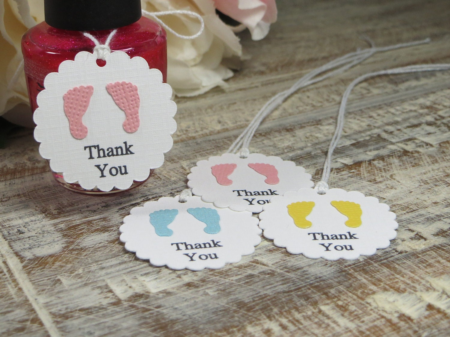 baby shower favor tags small footprints thank you tags small