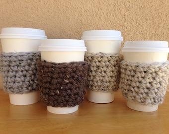 Crochet Coffee Cozy, Chunky Coffee Cup Sleeve, Paper Coffee Cup Cozie, Reusable Coffee Sleeve, Teacher Gift, Eco Friendly, Coffee Gift