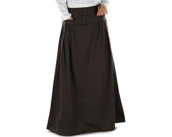 Saira Brown Cotton Long Skirt AS013 Islamic Formal, Daily & Casual Wear Made In Poplin 100% Cotton Fabric, Muslim Ladies Skirt