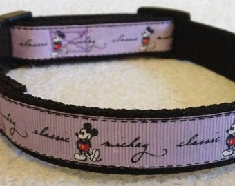 Lovely Lilac Mickey Mouse Dog collar for small Pooches