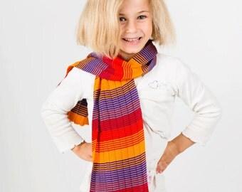 Hearts Scarf, Girls Scarf, Red Scarf, Orange Scarf, Striped Scarf,  Hearts Scarf, Winter Scarf, Kids Accessories, Neck Warmer, 318