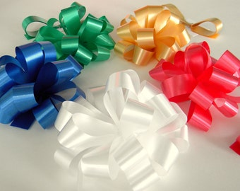 """2 Gift Bows  4""""  Stick On Pre-Notched, Pick Your Color, Birthday Gift Bow"""