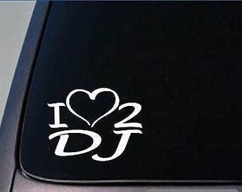 I Heart To Dj Sticker *H237* 8 Inch Wide Vinyl Turntable Disc Jockey