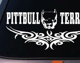 "Tribal Pitbull Pit Bull 10"" Sticker For Truck Window Tribal Sticker Decal *B187*"