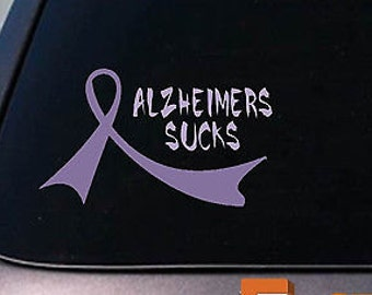 "2X Alzheimers Purple Ribbons 6"" Sticker Decals Dementia Cure Love"
