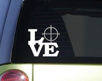 "Crosshair Love 6"" Sticker *F125* Decal Scope Trigger Deer Hunting Camo Buck Call"