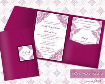Printable Pocket Folder Invitation Digital Template | Wedding Instant Download Pocket Invitation (wide) | Baroque in Azalea