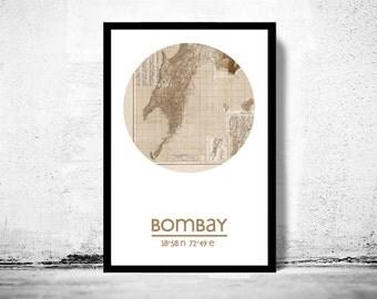 BOMBAY - city poster - city map poster print