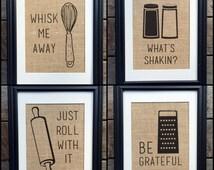 Choose Four Funny Kitchen Burlap Prints | Kitchen Print | Rustic Home Decor | Housewarming Gift | Burlap Kitchen Print