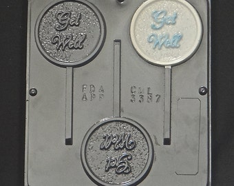 Get Well Chocolate Lollipop Chocolate Candy Mold 3387