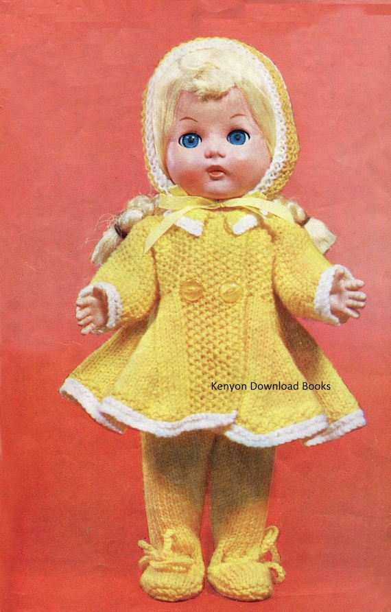 DOLL CLOTHES Knitting Pattern Coat Bonnet Leggings Fits