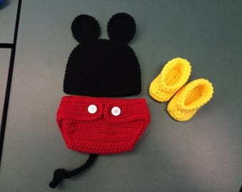 Mickey Mouse Hat,  Diaper Cover and Booties Set