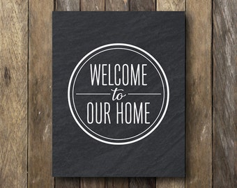Welcome Printable - Instant Download Printable Art - Welcome To Our Home - Entryway Art