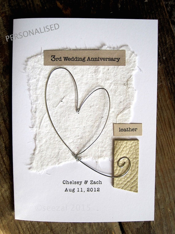 Rd wedding anniversary keepsake card leather traditional