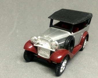 Vintage 1932 Datsun Type 11 Touring Car Diecast Loose Tomica 1974 No. 60 Silver Burgundy Black Pocket Cars