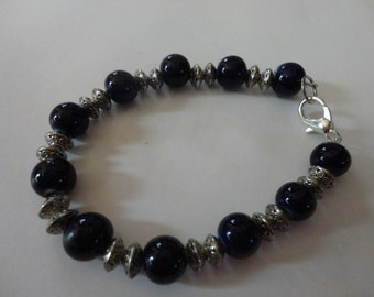 Silver and Blue Glass Bead Bracelet