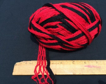 Red and Black Stripe Ruffle Yarn