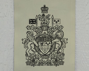 Canadian Coat-of-Arms Wall Decor, Canada, Printed on Duck Cloth