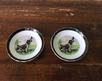 Vintage bird dog pointer spaniel dog plates, bird dog huntong dog coasters