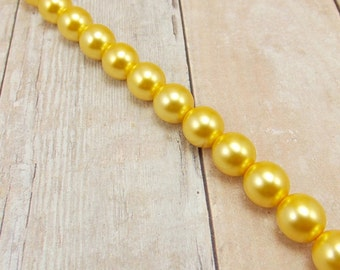 "8mm Czech Glass Pearls - Warm Yellow - 7.5"" Strand - 24 Pearls - Goldenrod - Golden Yellow - Sunbeam"