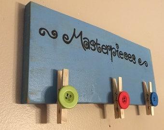 Kids art work display, Masterpieces art, art display, clothespins, wall art, kids wall decor, kids art gallery, kids art display, kids decor