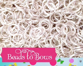 100 Quality 8mm Jump Rings,  Silver Colored  Jump Rings,  Jewelry Findings, Bottlecap Jump Rings,