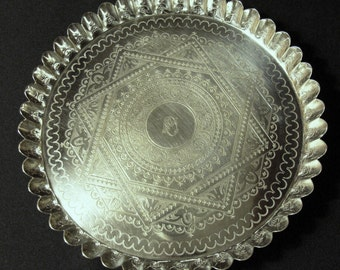 Elkington & Co Silver Plate Tray Footed Antique 19th Century Silver Plate Ornate Scalloped Edge 1886 > EPSTEAM