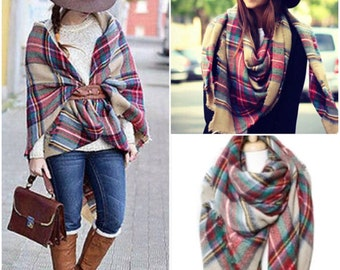 Plaid Scarf, tartan scarf, Scarf, Trendy Scarf, Blanket Scarf, over sized