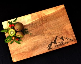 Personalized Cutting Board Spalted Maple Custom Cutting Board Mountain Cutting Cheese Board - Handmade, not laminated and glued