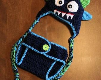 Crochet Monster Hat and Diaper Cover Set