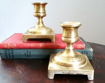 Brass Candle Stick Holders Vintage Brass with Square Base Made In England