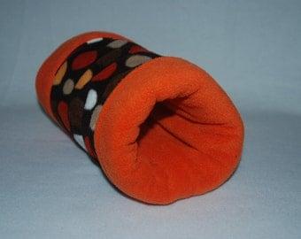 Guinea Pig/Hedgehog Fleece Tunnel (BrownMultiCircles/Orange)