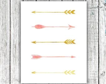 Nursery Printable, Pink and Gold Tribal Arrows. Modern Wall Art. Printable Art, Little Girl #375
