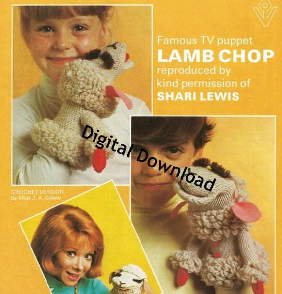 2 Lamb Chop Puppet Patterns, Includes Knit and Crochet Pattern, Vintage Shari...