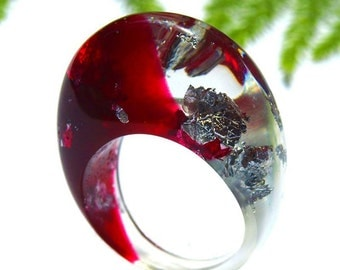 Red Hot Resin Ring, Red Statement Ring, Red Resin Jewelry, Silver Leaf Rings, Bold, Unique and Modern Rings, Trending, ResinHeavenUSA