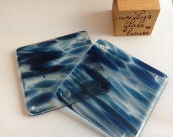 Blue glitter fused glass coasters