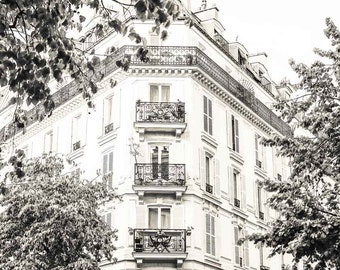 Paris Photography - Fine Art Photography - Paris Architecture - French Home Decor - Cream and Grey - Paris Rooftops - Romantic Art - Gift