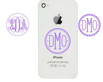 Cell Phone Decal, Monogram decal for phone