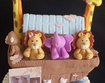 Noah's Ark Cake Topper, Noah's Ark Figurine, Noahs Ark Baby Shower, Noahs Ark Cake Figurine, Noahs Ark Birthday, Ark and Animals Decorations