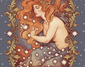 COSMIC LOVER PRINT 8x11'' DinA4- hand signed. High Quality 350g matte couche paper - Moon, stars and sun by Medusa Dollmaker