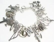 Zombie Charm Bracelet, Fandom Jewelry, Survival Bracelet, Apocalypse Jewellery, Walkers Pendant, Daryl Dixon Wings, Fear The Dead Bracelet