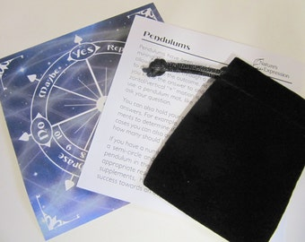 Pendulum Chart Dowsing Kit, Instrutions, Healing Properties Of Gemstones Pendulums, Velour Pouch, Nice Instruction  Kit For Your Pendulum