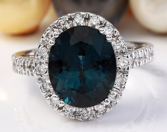 6.40 CTW Estate Natural London Blue Topaz and Diamonds in 14K White Gold Ring
