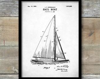 Patent Print, Sailboat Patent, Sailboat Poster, Sailboat Print, Sailboat Art, Sailboat Decor, Sailboat Wall Art, Sailboat Blueprint, P145