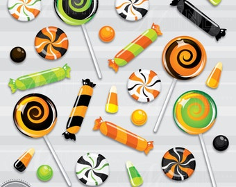 Candy Clipart: HALLOWEEN CANDY Clip Art, Halloween Download, Trick or Treat Clipart Lollipop Clipart Candy Corn Clipart