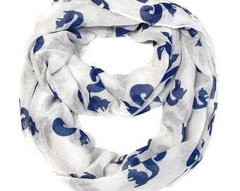 Squirrel Infinity Scarf - White